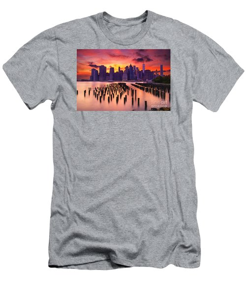 Men's T-Shirt (Slim Fit) featuring the photograph Manhattan Sunset by Rima Biswas