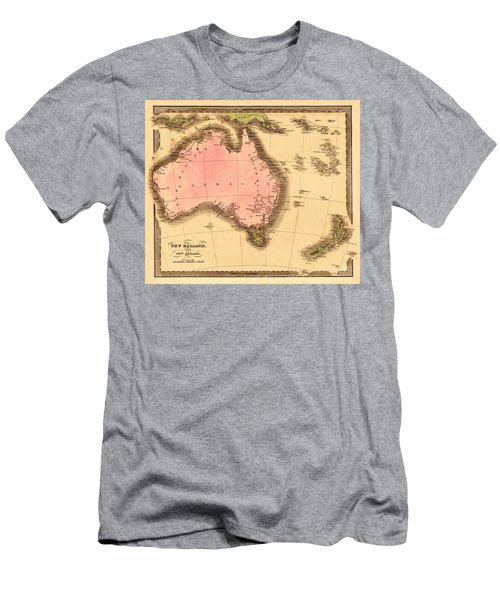 Map Of Australia 1840 Men's T-Shirt (Slim Fit) by Andrew Fare