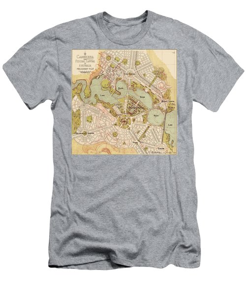 Map Of Canberra 1913 Men's T-Shirt (Slim Fit) by Andrew Fare