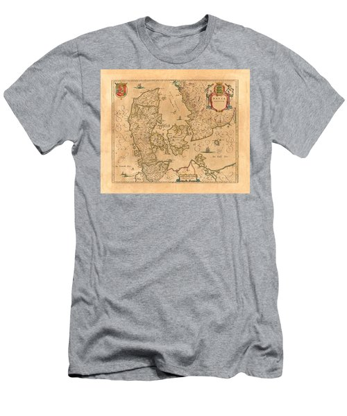 Map Of Denmark 1645 Men's T-Shirt (Slim Fit) by Andrew Fare