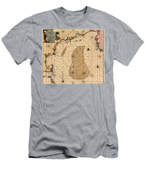Map Of New England 1700 Men's T-Shirt (Slim Fit) by Andrew Fare