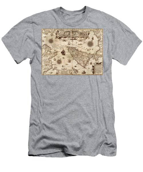 Map Of Sicily 1594 Men's T-Shirt (Slim Fit) by Andrew Fare