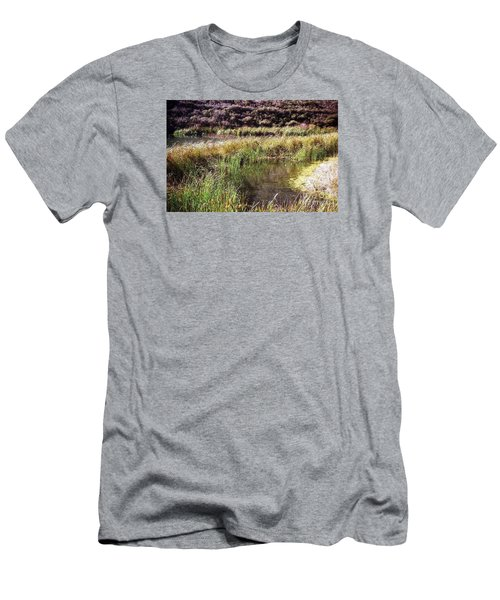 Marine Headlands Pond And Flowers Men's T-Shirt (Slim Fit) by Ted Pollard