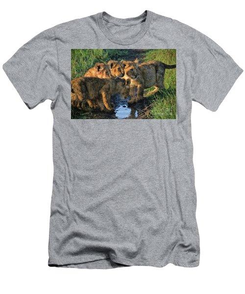 Men's T-Shirt (Slim Fit) featuring the photograph Masai Mara Lion Cubs by Karen Lewis