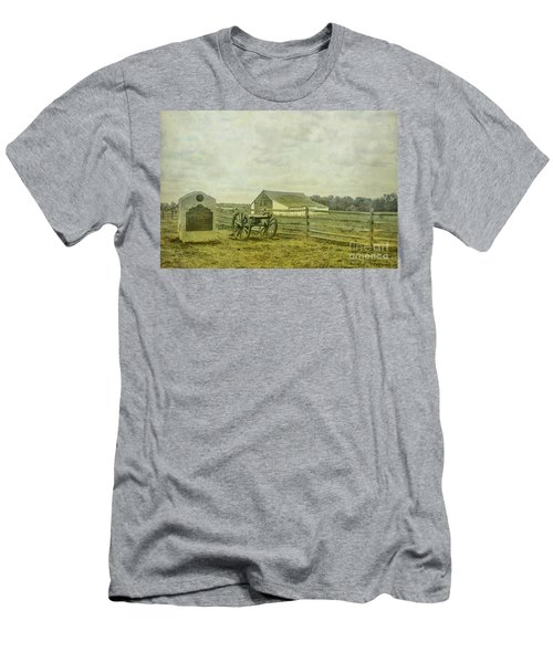 Men's T-Shirt (Slim Fit) featuring the digital art Mcpherson Barn And Cannon Gettysburg  by Randy Steele