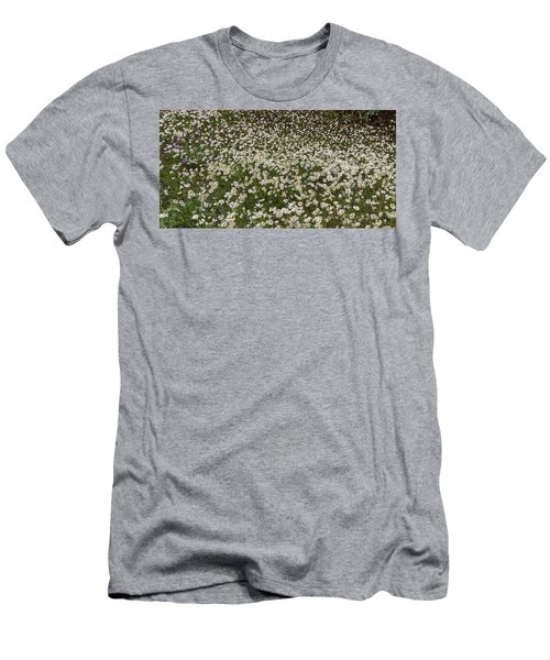 Men's T-Shirt (Athletic Fit) featuring the photograph Meadow Of Daisey Wildflowers Panorama by James BO Insogna