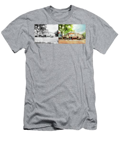 Men's T-Shirt (Slim Fit) featuring the photograph Mechanic - All Cars Finely Tuned 1920 - Side By Side by Mike Savad