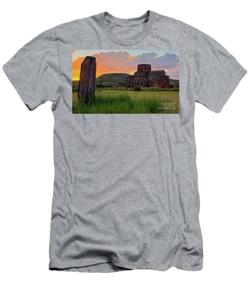 Mediaval Talin's Cathedral At Sunset With Cross Stone In Front, Armenia Men's T-Shirt (Slim Fit) by Gurgen Bakhshetsyan