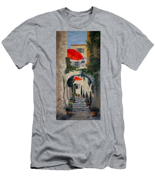 Men's T-Shirt (Slim Fit) featuring the painting Medieval Steps At St Paul De Vence by Marilyn Zalatan