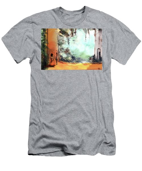 Men's T-Shirt (Slim Fit) featuring the painting Meeting On A Date by Anil Nene