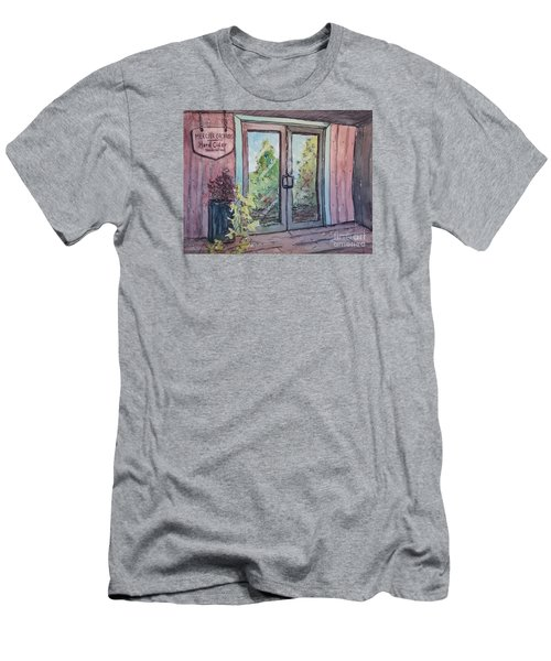 Men's T-Shirt (Slim Fit) featuring the painting Mercier Orchards' Cider by Gretchen Allen