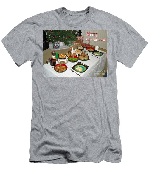 Merry Christmas- Traditional Lithuanian Christmas Eve Dinner Men's T-Shirt (Slim Fit) by Ausra Huntington nee Paulauskaite
