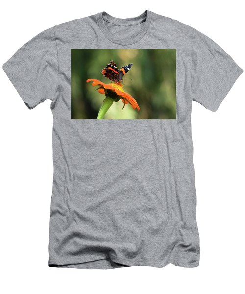Mexican Sunflower With Red Admiral Men's T-Shirt (Athletic Fit)