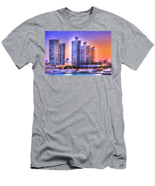 Miami Skyline Sunrise Men's T-Shirt (Athletic Fit)
