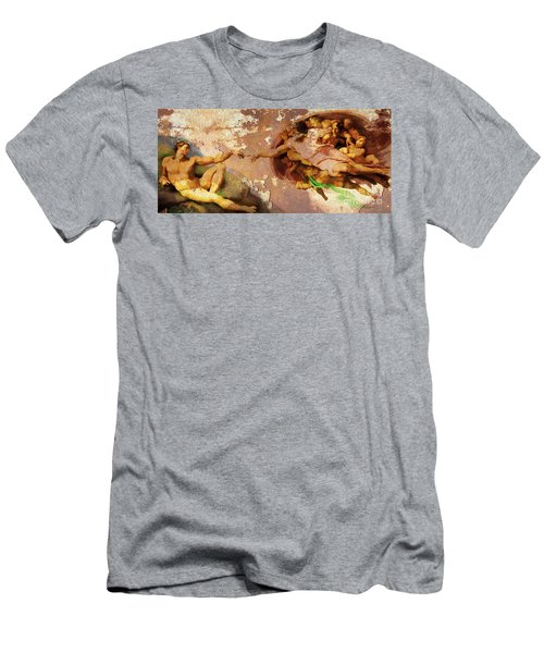 Michelangelo The Creation Of Adam In Rust 20150622 Men's T-Shirt (Athletic Fit)