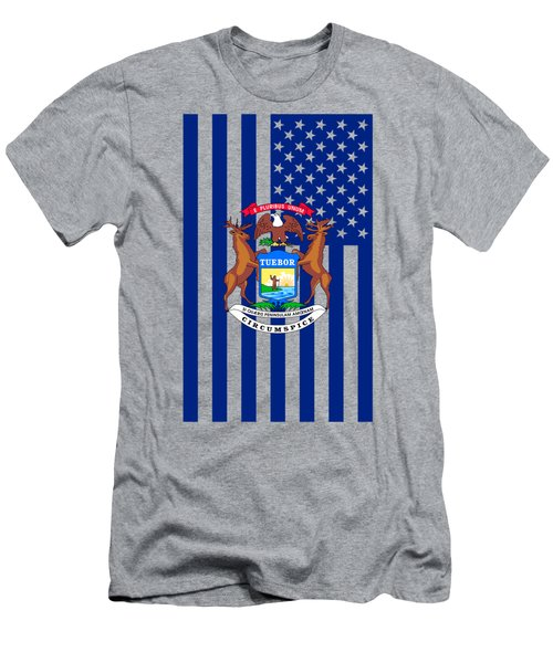 Michigan State Flag Graphic Usa Styling Men's T-Shirt (Slim Fit)