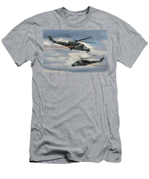 Men's T-Shirt (Slim Fit) featuring the photograph Mil Mi-24v Hind E by Tim Beach