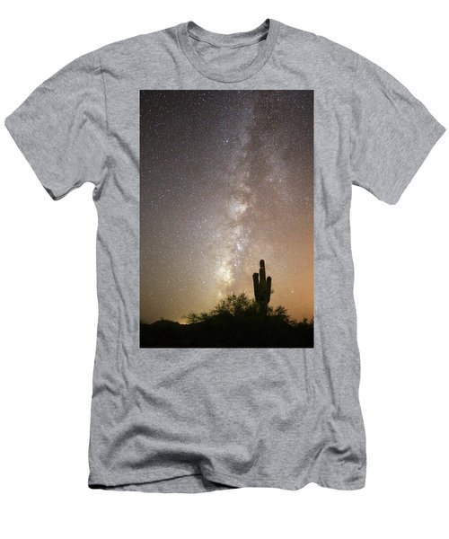 Milky Way And Saguaro Cactus Men's T-Shirt (Athletic Fit)
