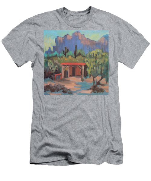 Men's T-Shirt (Slim Fit) featuring the painting Mining Camp At Superstition Mountain Museum by Diane McClary