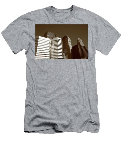 Men's T-Shirt (Slim Fit) featuring the photograph Minneapolis Skyscrapers 5 Sepia by Frank Romeo