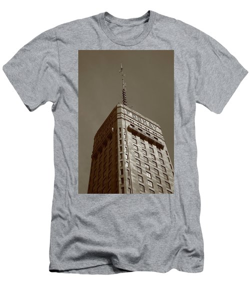 Men's T-Shirt (Slim Fit) featuring the photograph Minneapolis Tower 6 Sepia by Frank Romeo