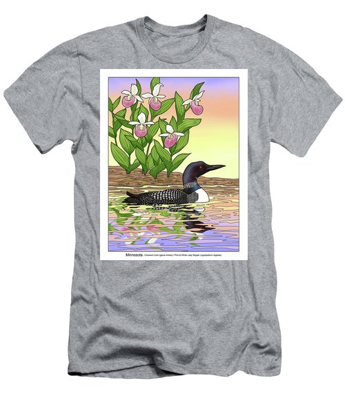 Minnesota State Bird Loon And Flower Ladyslipper Men's T-Shirt (Slim Fit)