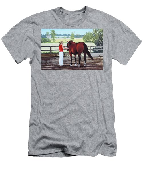 Men's T-Shirt (Slim Fit) featuring the painting Mirage Of Wassini by Kenneth  Kirsch