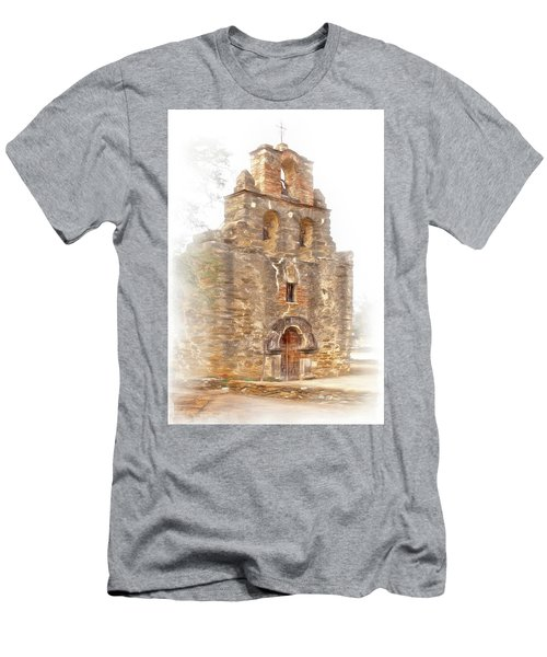 Men's T-Shirt (Slim Fit) featuring the photograph Mission San Francisco De La Espada In Faux Pencil Drawing  by David and Carol Kelly