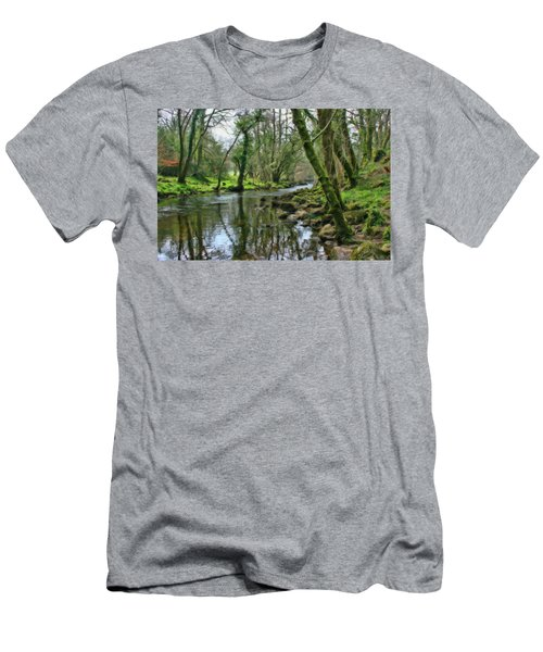 Misty Day On River Teign - P4a16017 Men's T-Shirt (Athletic Fit)