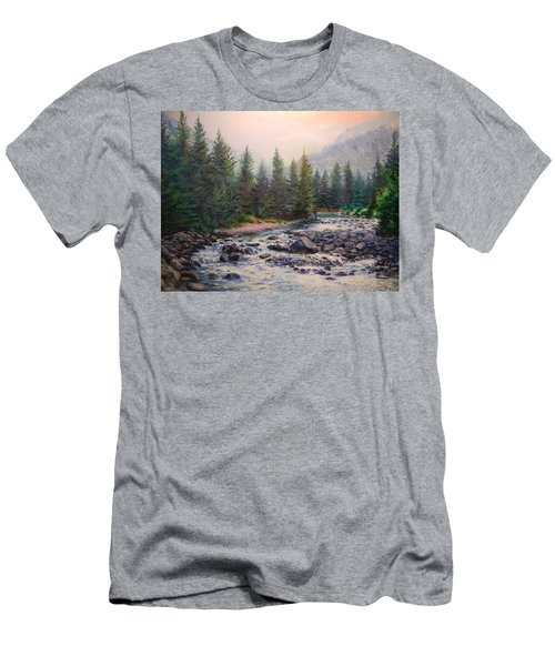 Misty Morning On East Rosebud River Men's T-Shirt (Slim Fit) by Patti Gordon