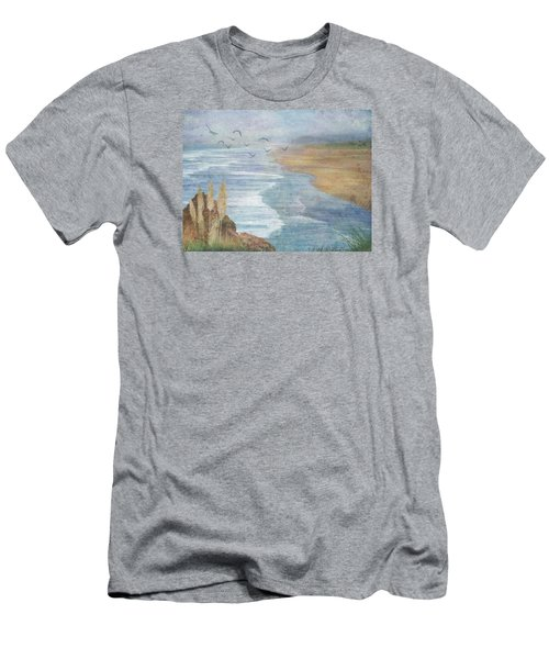 Men's T-Shirt (Slim Fit) featuring the digital art Misty Retreat by Christina Lihani