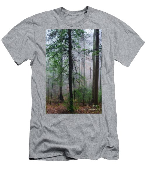 Misty Winter Forest Men's T-Shirt (Slim Fit) by Thomas R Fletcher