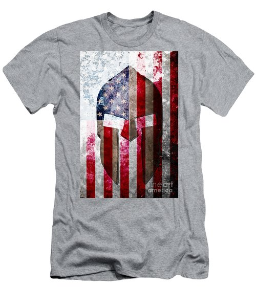 Molon Labe - Spartan Helmet Across An American Flag On Distressed Metal Sheet Men's T-Shirt (Athletic Fit)