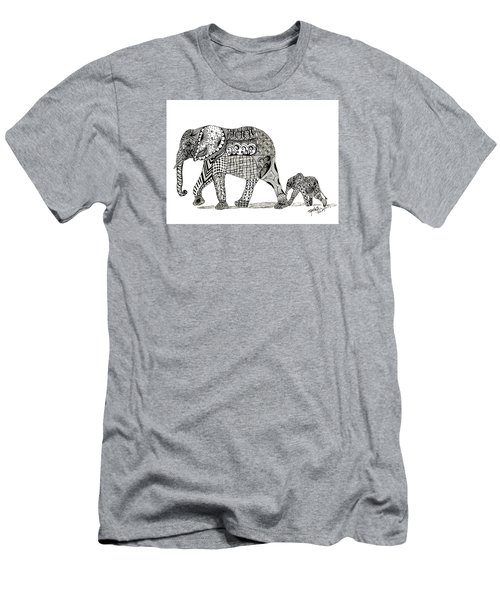 Men's T-Shirt (Slim Fit) featuring the drawing Momma And Baby Elephant by Kathy Sheeran