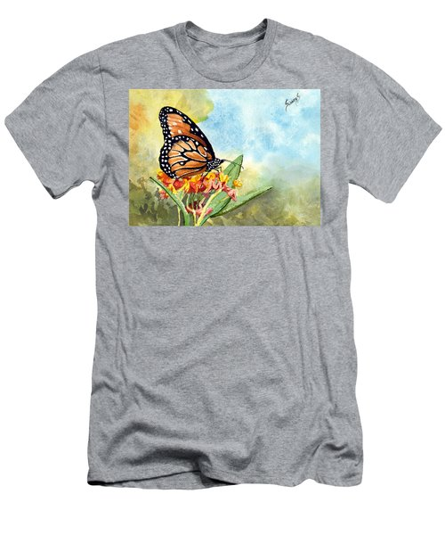 Men's T-Shirt (Athletic Fit) featuring the painting Monarch Butterfly by Sam Sidders