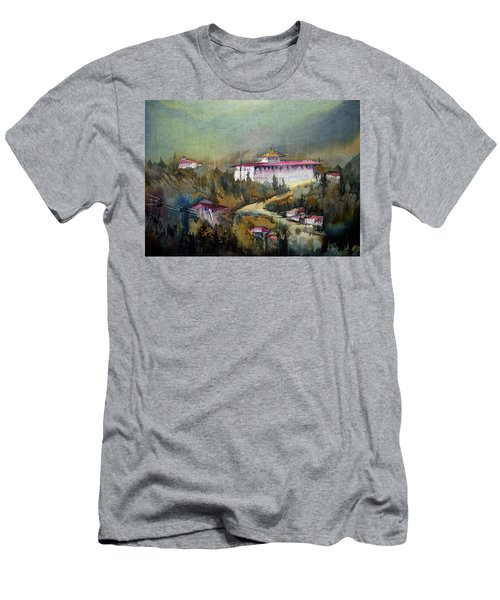 Men's T-Shirt (Slim Fit) featuring the painting Monastery In Mountain by Samiran Sarkar