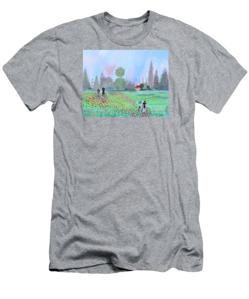 Men's T-Shirt (Slim Fit) featuring the painting Monet's Field Of Poppies by Stacey Zimmerman