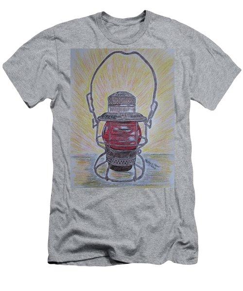 Monon Red Globe Railroad Lantern Men's T-Shirt (Slim Fit) by Kathy Marrs Chandler