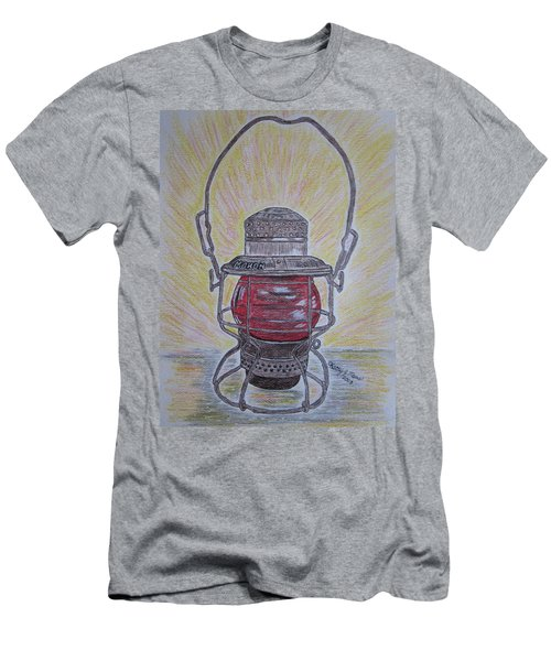 Monon Red Globe Railroad Lantern Men's T-Shirt (Athletic Fit)
