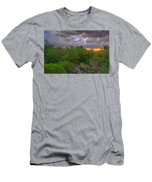 Men's T-Shirt (Athletic Fit) featuring the photograph Monsoon Sunset H56 by Mark Myhaver