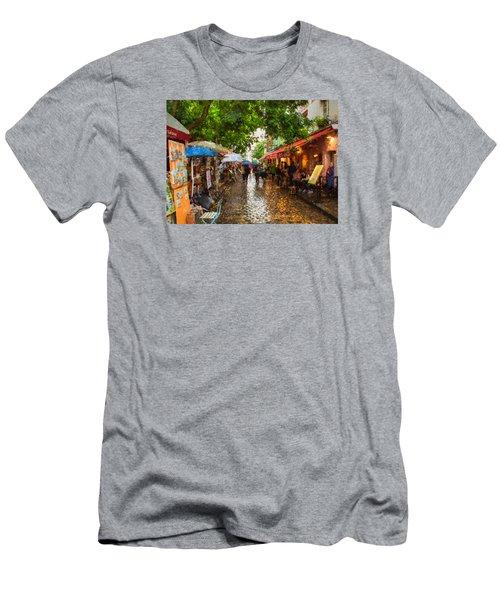 Men's T-Shirt (Slim Fit) featuring the photograph Montmartre Art Market, Paris by Carl Amoth