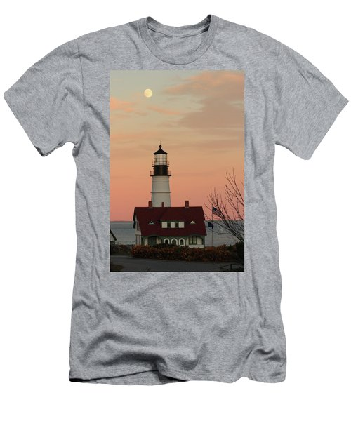 Moon Over Portland Head Lighthouse Men's T-Shirt (Slim Fit) by Lou Ford