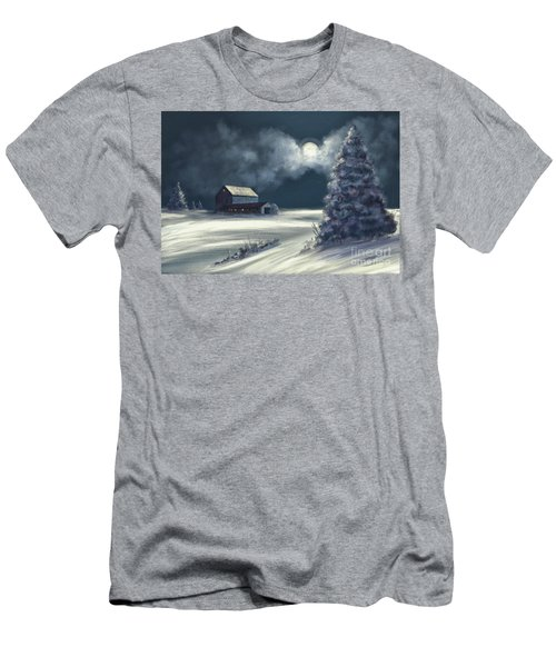 Men's T-Shirt (Slim Fit) featuring the digital art Moonshine On The Snow by Lois Bryan