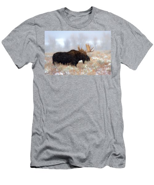 Men's T-Shirt (Slim Fit) featuring the photograph Moose In The Fog Silhouette by Adam Jewell