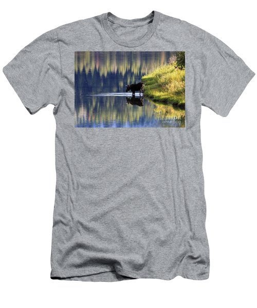 Moose Reflecting Men's T-Shirt (Slim Fit) by Myrna Bradshaw