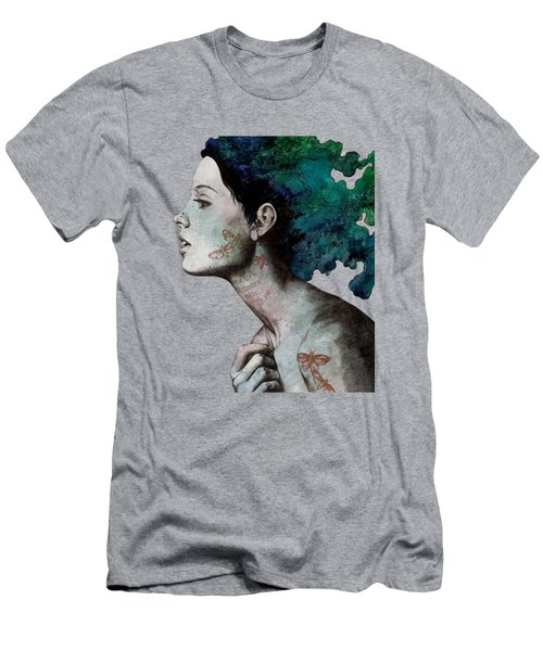Moral Eclipse - Colorful Hair Woman With Moths Tattoos Men's T-Shirt (Athletic Fit)