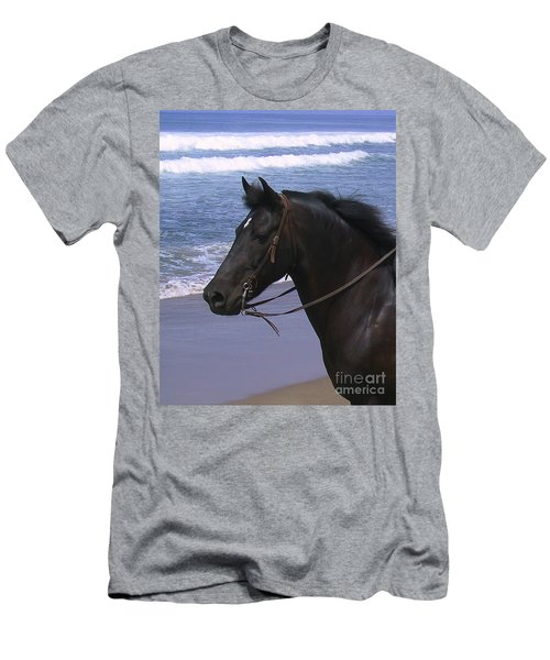 Morgan Head Horse On Beach Men's T-Shirt (Athletic Fit)