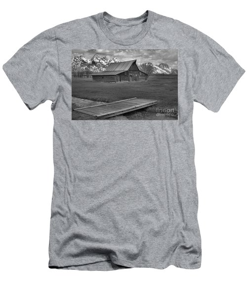 Mormon Row Water Crossing Black And White Men's T-Shirt (Slim Fit) by Adam Jewell