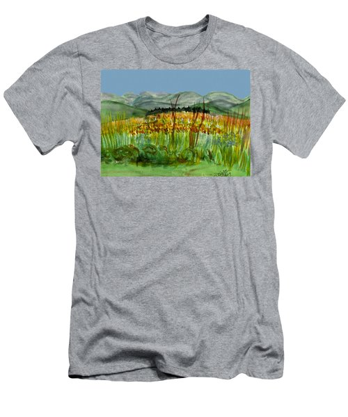 Men's T-Shirt (Slim Fit) featuring the painting Morning In Backyard At Barton by Donna Walsh