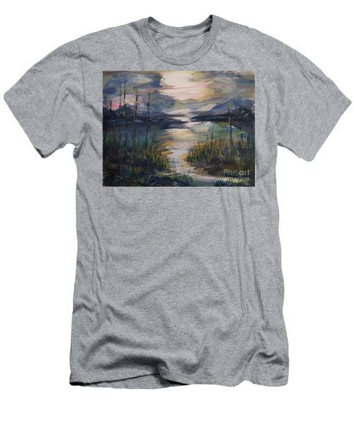 Men's T-Shirt (Athletic Fit) featuring the painting Morning Mountain Cove by Reed Novotny
